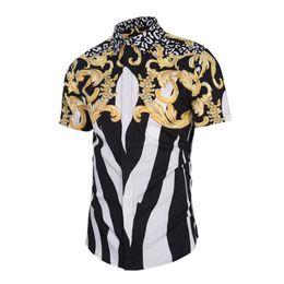 Chinese Collar Shirts Mens UK - 2018 New Summer Men Shorts Sleeve Shirt Fashion Mens Golden Floral Print Luxury Shirts Chinese Style Male Chemise Size Xxxl C190420