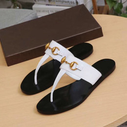 3577b1323d2b Leather Thong Metal Chain Flip Flops Slippers Sandals Women Luxury Desinger  Shoes Fashion Thin Black FlipFlop Brand Shoes Black White Brown