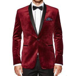 White Corduroy Suit Australia - Burgundy Wedding Tuxedos 2019 Coat Blazer Black Shawl Lapel Two Piece Velvet Evening Party Men Suits (Jacket + Pants)