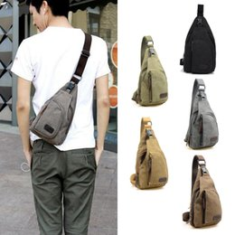 wholesaler bicycles Australia - 2019 New Men Vintage Canvas Leather Satchel Shoulder Sling Pack Bag Hiking Bicycle Bag Unbalance Crossbody Bags