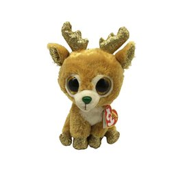 reindeer plush toy NZ - Ty Beanie Boos 6&15cm Glitzy the Reindeer Plush Regular Big-eyed Stuffed Animal Collection Deer Doll Toy with Heart Tag