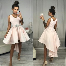 High Low Belt Australia - Blush Pink High Low Homecoming Party Dresses with Crystal Belt 2019 V-neck Simple Designer Short Prom Formal Cocktail Gown