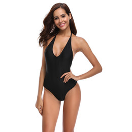 7c969d689611 New Sexy Deep V Swimsuit One Piece Suit Backless Halter Bathing Suit S-XL  Girl Solid Black Pad Swimwear Low Cut Back Monokini