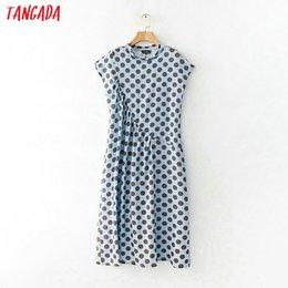 High Street Dresses NZ - Tangada Fashion Women Sundress Blue Polka Dot Dress Ruffles Sleevess Ladies Long Maxi Dresses Summer High Street Vestido T3190605