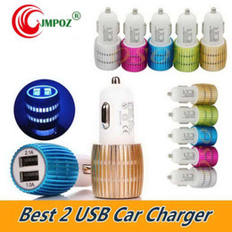 Car Lights Australia - LED Lighting Car charger Steel Ring dual usb 2.1A+1A 2 port universal travel Chargers adapter for iphoneX Xs ipad samsung s9 S10