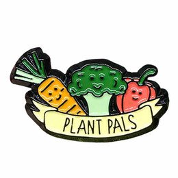 Cute gifts ideas online shopping - Plant pals enamel pin vegan food badge cute vegetables brooch Easter birthday gifts ideas