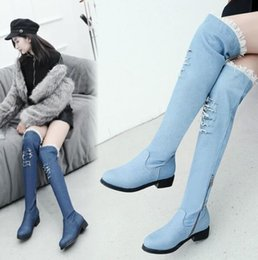 sexy black leather hole NZ - New Arrival Hot Sale Specials Super Fashion Influx Sexy Custom Tube Plus Velvet Noble Stretch Hole Cowboy Denim Overknee Boots EU34-43