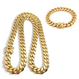 """$enCountryForm.capitalKeyWord Australia - new Stainless Steel Jewelry 18K Gold Plated High Polished Miami Cuban Link Necklace Men Punk 14mm Curb Chain Dragon-Beard Clasp 24"""""""