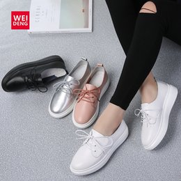 silver lace up Australia - wholesale Wedge Platform Genuine Leather Loafer Casual Flats Shoes Walking Sneakers Woman Lace Up Fashion Silver Leisure 6cm Sole