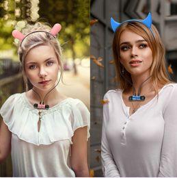 $enCountryForm.capitalKeyWord Australia - Cat Headphones Wireless Bluetooth Earphone with Hair Hoop Headphone With Microphone For kids Gaming Cosplay Music Earbuds Flashing Glowing
