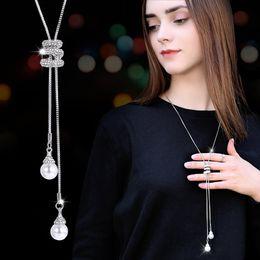 Artificial Chains Wholesalers Australia - tassel sweater chain female long paragraph simple artificial pearl pendant long necklace clothes pendant accessories