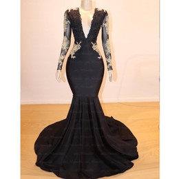 Sexy White Mermaid Ball Gowns Australia - Black Prom Dresses 2019 Sexy Mermaid V-Neck Long Sleeve Bead Lace Evening Gowns Gold Appliques Cocktail Party Ball Red Carpet Dress