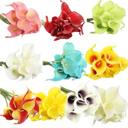 Fake Lilies Flowers NZ - 6 PC Artificial Calla Lily Fake Flower Wedding Home Decor Bouquet yapay cicek foam flowers
