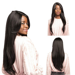 $enCountryForm.capitalKeyWord Australia - Natural Black 1B# Side Part Synthetic Hair Wigs With Bangs Long Straight Glueless Heat Resistant Fiber Hairpiece For Black Women