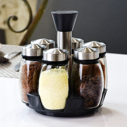Spice Jar Set Kitchen Australia - 7Pcs Set Rotating Stainless Steel Cruet Condiment Spice Jars Set Salt And Pepper Shakers Seasoning Sprays Kitchen Tool