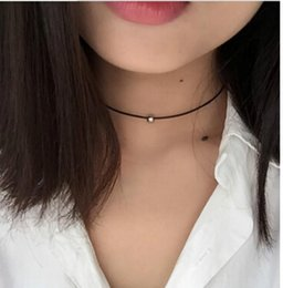 $enCountryForm.capitalKeyWord Australia - Simple Fashion Choker Necklace Thin Black Leather Rope Necklaces With Silver Gold Colour Metal Beads Short Necklace Women