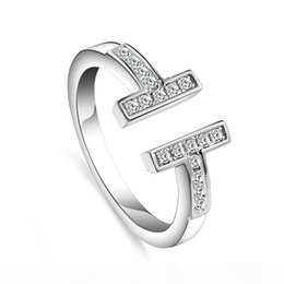 t letter ring UK - DHL Fashion Bling Bling Diamond Rings Double T Letter Rings 925 Silver Women Open Ring Jewelry