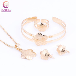 indian baby jewelry 2020 - Baby Kids Children Girl Jewelry Sets Gold Color Cute Flower Pendant Necklace Bracelet Earrings Adjustable Ring cheap ind