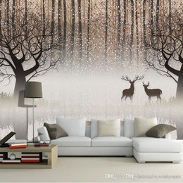 Paintings For Restaurant Australia - Wall Mural Vintage Nostalgic Dark Forest Elk 3D TV Backdrop Decorative Painting Living Room Study Restaurant hall Wallpaper