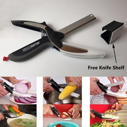 Eco Kitchen Scissors Australia - Clever Cutter 2 in 1 Stainless Steel Kitchen Scissors With Sharp Knife Blade Cutting Board Food Cutter Vegetable Knife + Free Knife Shelf