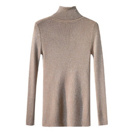 Grey Turtleneck Knit Pullover Sweater UK - Spring Autumn Casual Turtleneck  Long Sleeve Shinny Chic Women b51c64ec5
