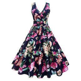46aa58d74ed Wipalo Plus Size Floral Print Vintage Summer Dress Women Sleeveless 50s  Rockabilly Robe Elegant Party Dresses Tunic Vestidos Q190429
