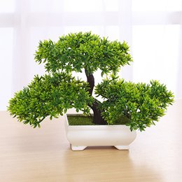 Discount table sets accessories - Bonsai Artificial Plant with Plastic Pots Simulation Plant Set Decoration Home Table Accessories Office Hotel Living Roo