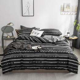 Black Bedding Full Australia - 100%Cotton TWIN QUEEN KING Bedding Set Black Grey Bed sheet set Flat Fitted sheet Duvet cover funda nordica cama parure de lit