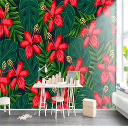 Green leaves wallpaper online shopping - Custom Size D Photo Wallpaper Living Room Mural Red Flowers Green Leaves Picture Sofa TV Backdrop Mural Home Decor Creative Hotel Wallpaper