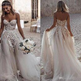 e822ebdd27a Bohemian Beach A-line Sweetheart Wedding Dresses Zipper Back Court Train  Tulle Appliques Church Bridal Dress Wedding Gowns Vestido De Novia