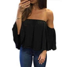 Wholesale top off shoulder for sale - Group buy Fashion Women Off Shoulder Top Blouse Long Sleeve Pullover Casual Blouse Hals Langarm Chiffon Schulter Chiffon
