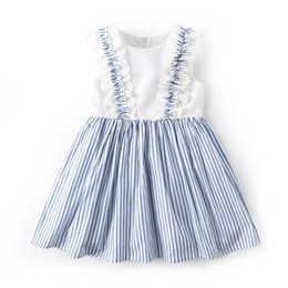 lolita clothes wholesale NZ - New Kids Designer Clothes Girls Dress Summer O-neck Sleeveless Stripped with lace Design girl kids dress Lolita girl dress