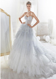 $enCountryForm.capitalKeyWord Australia - Charming Tulle Sweetheart Neckline See-through A-line Wedding Dress With Beadings & Ruffles Silver Ivory Colorful Wedding Gowns Custom Made