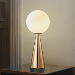 Free Bedside Table Australia - Nordic Postmodern Led Table Light Art Cone Golden Glass Warm Bedside Bar Cafe Study Fashion Decoration Lamp Free Shipping