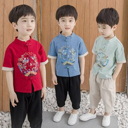 Boy Chinese Suit Australia - Children's wear primary school national costume boy Chinese style Tang suit summer male baby retro suit children's costume national costume