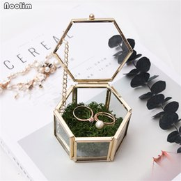 Glasses Boxes NZ - NOOLIM Glass Geometry Container Ring Box Makeup Organizer Jewelry Storage Box Everlasting Flower Micro Landscape Glass Cover
