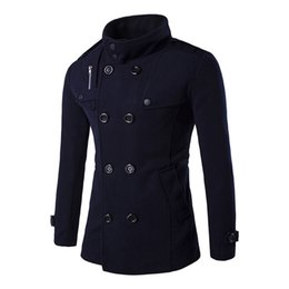 collar coat men NZ - Autumn Winter Men Coat Slim Fit Jackets Double Row Button Collar Outerwear Warm Man Casual Jacket Overcoat Coat