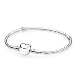 Sterling Silver european bracelet claSp online shopping - 2019 New Original Silver Heart Clasp Beads Charm Bracelets Fit European Pandora Heart Charms Bracelet DIY Fashion Jewelry