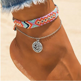 Rhodium anklet online shopping - Vintage OM Rune Weave Anklets For Women New Handmade Cotton Anklet Bracelets Female Beach Foot Jewelry Gifts