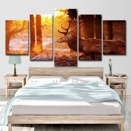 $enCountryForm.capitalKeyWord Australia - Wall Art Canvas Paintings For Living Room Home Decor 5 Pieces Sunshine Forest In Winter Deer Pictures Modular Posters