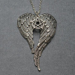 mens angel wings pendant NZ - Supernatural Witchcraft Pentagram Necklace Gothic Angel Wings Witch Five Pointed Star Pendants Necklaces Mens Women Trinkets Collar Jewelry