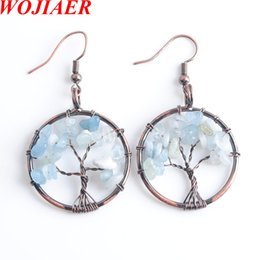 natural life jewelry Australia - WOJIAER New Dangle Earrings for Women Tree of Life Ear Drop Natural The Sea Blue Chip Stone Bead Jewelry DR8014