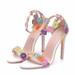 $enCountryForm.capitalKeyWord Australia - Beautiful Mix Color Lace Flower Bride Sandals Buckle Straps Rhinestone Heel Wedding Party Shoes Open Toe Summer Sandals