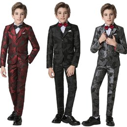 slim jackets for boys Australia - YuanLu Boys Suits 5PCS Blazer Jacket For Wedding Party Piano Kids Suit Slim Fit Formal Performance Suits For Children