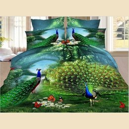 peacock duvet cover NZ - Bedding Duvet Cover Set 3D Peacock Opening Personality Fashion Series Polyester 4Pcs Duvet Cover Bed Sheet Pillowcases 1 Size