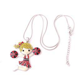 $enCountryForm.capitalKeyWord Australia - Q8 Cheerleading Girl Enamel Pendant with Colorful Crystal Woman Jewelry Zinc Alloy Charm snake chain necklect Diy Jewelry