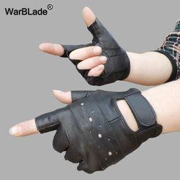 Genuine Leather Gloves Wholesale Australia - WarBLade Men Genuine Leather Gloves Sport Driving Slip-resistant Luvas Half Finger Sheep Leather Fingerless Gym Fitness Gloves