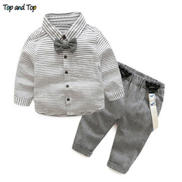 infant baby boy winter overall NZ - Top and Top Baby Boys Gentleman Clothes Suits Toddler Cotton Long Sleeve Bowtie Striped Shirt+Overalls Pants Infant OutfitsMX190912