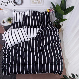 $enCountryForm.capitalKeyWord Australia - Jeefttby Best Luxury Black Strips Duvet Cover Flat Bed Sheet Pillowcase King Queen Full Twin Child Bedding Set Bedclothes 3 4pcs