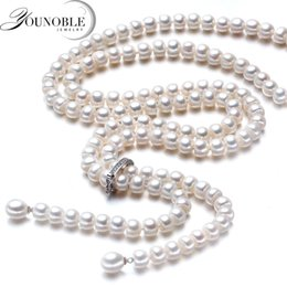 925 Silver Pearls Necklace Australia - 900mm Tassel Fashion Long Pearl Necklace Natural Freshwater Pearl 925 Sterling Silver Jewelry For Women Statement Necklace Gift J 190429